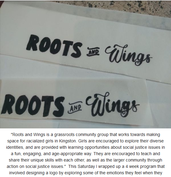 "A logo that reads ""Roots and Wings"". Roots is written in a bold, blocky font. Wings is written in a swirly font."