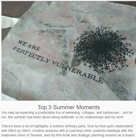 """A grey and pink patch that reads """"We are perfectly vulnerable"""" underneath an image of a dandelion going to seed"""